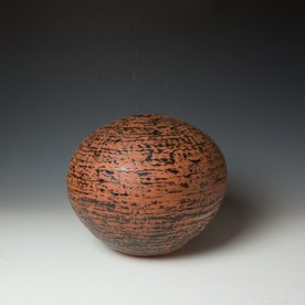 "Ann Housworth Ann Housworth, Coil Pot, earthenware, underglaze, smoked, 10.5 x 12.5"""