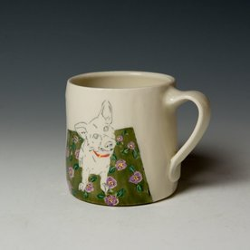 "Stephanie Wilhelm Stephanie Wilhelm, Corgi Mug, porcelain, gold luster, 3.5 x 3.5"""