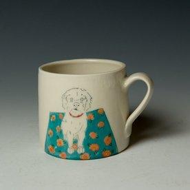 """Stephanie Wilhelm SOLD Stephanie Wilhelm, Poodle Mug, porcelain, gold luster, 3.5 x 3.5"""""""