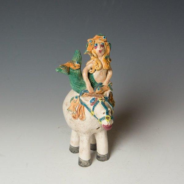 "Chris Moses Chris Moses, Mermaid on Horse Whistle, Raku, 8.5 x 3.75 x 5.25"""