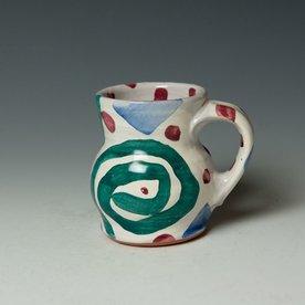 """Stanley Mace Andersen Stan Andersen, Curvie Mug, earthenware, majolica, 4.25 x 4.75 x 3.75"""""""