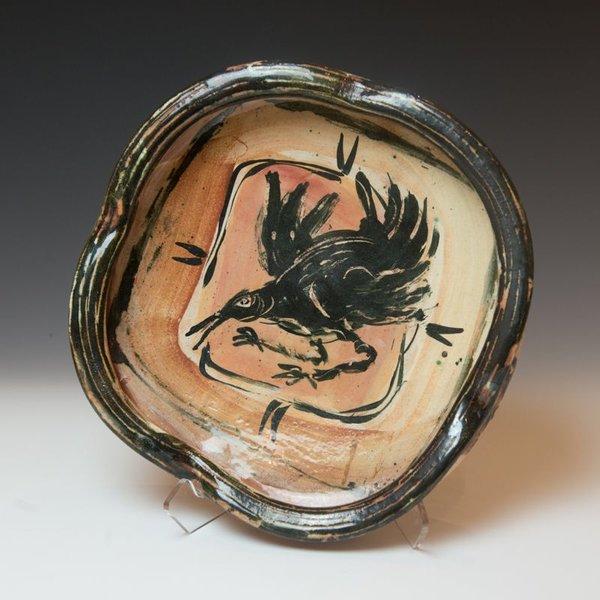 Ron Meyers Ron Meyers, Shallow Bowl with Black Bird
