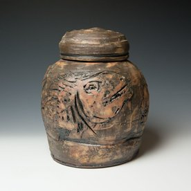 """Ron Meyers Ron Meyers, Carved Jar/ Fish, earthenware, 12.5""""x9"""""""