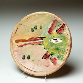 Ron Meyers Ron Meyers, Small Plate with Rooster, earthenware, 9""