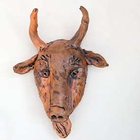 """Ron Meyers Ron Meyers, Goat Mask, 15 x 11 x 4"""" <br /> <br /> <br /> <br /> <br /> Platter, 3 x 21.5 x 9.5"""""""