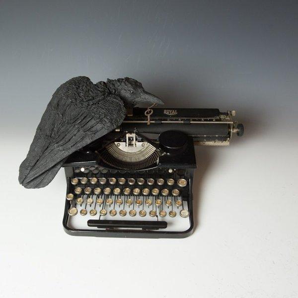 Christine Kosiba Christine Kosiba, Raven on Typewriter, stoneware, underglaze, oxides, stain, terra sigillata,