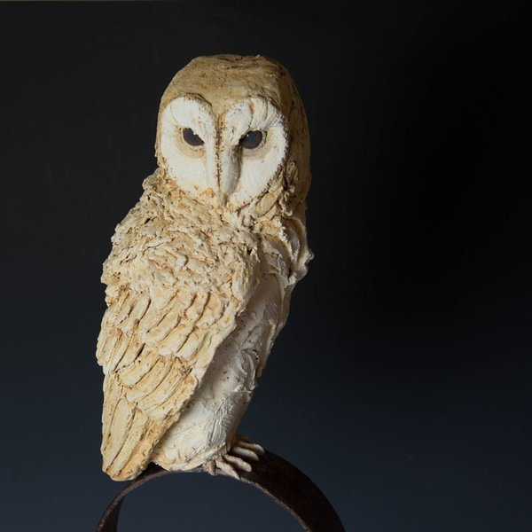 Christine Kosiba Christine Kosiba, Night Watch, found object, stoneware, underglaze, oxides, stain, terra sigillata,