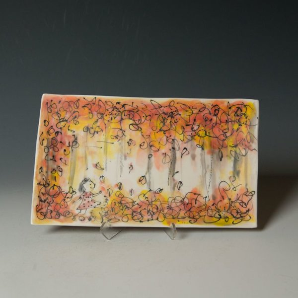 "KB Lim Keok Lim, Rectangular Plate, porcelain, .75 x 9 x 5.25"""