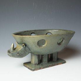 """Shawn Ireland Shawn Ireland, Rhino Bowl, handbuilt, wood-fired, ash glaze, 6 x 12.75 x 9"""""""