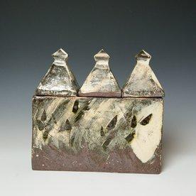 Hunt and Dalglish Michael Hunt & Naomi Dalglish, Tripple Lidded Box, white slip, clear glaze