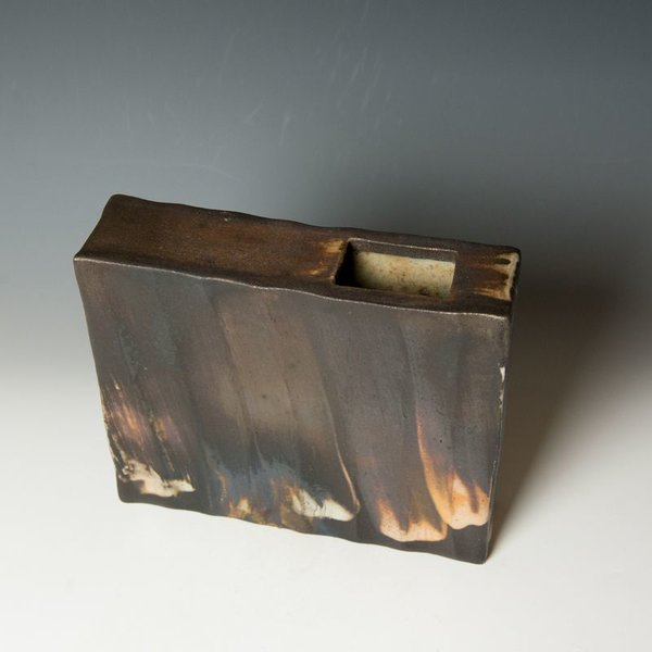 Nancy Green Nancy Green, Asymmetrocal Rectangular Vase, stoneware, black clay, slip