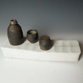 """Nancy Green Nancy Green, Hollow Tray w/Saki Set, stoneware, slip, 7 x 4.5 x 14.5"""""""