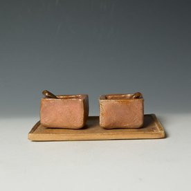 Nancy Green Nancy Green, Salt & Pepper Cellar Set, stoneware, slip