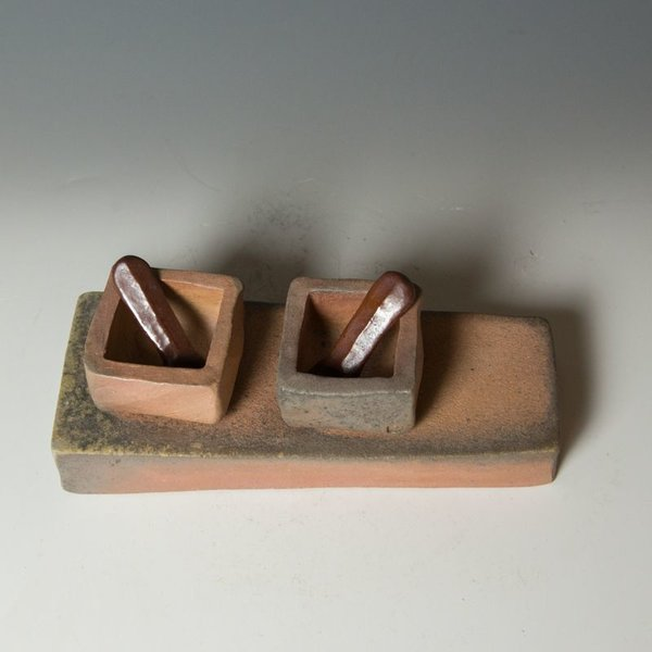 Nancy Green Nancy Green, Salt & Pepper Cellar Set, stoneware, wood-fired