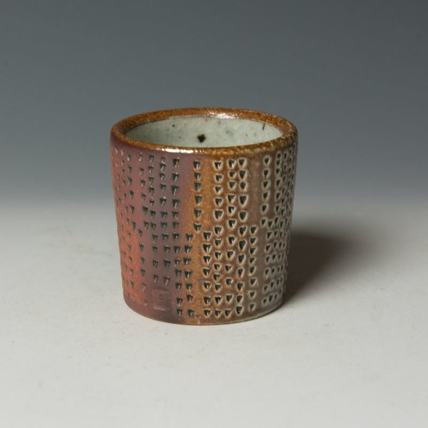 "Nancy Green Nancy Green, Sgraffito Cups, stoneware, wood-fired, 2.5 x 2.75"" dia."