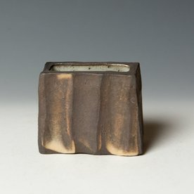 "Nancy Green Nancy Green, Small Wedge Vase, stoneware, wood-fired,  3 x 3.5 x 1.5"""