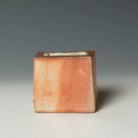"Nancy Green Nancy Green, Small Wedge Vase, stoneware, wood-fired,  3.25 x 3.5 x 1.5"""
