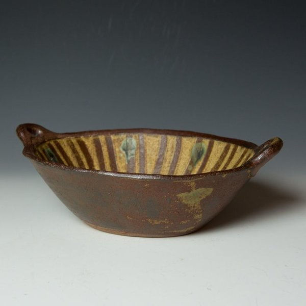 "Shawn Ireland Shawn Ireland, Oval Baker, handbuilt, wood-fired, ash glaze, 4.5 x 13 x 9"""