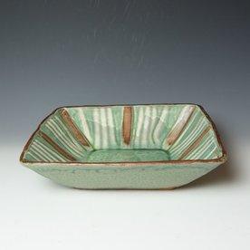 "Shawn Ireland Shawn Ireland, Square Bowl, handbuilt, wood-fired, ash glaze, 3.5 x 13.75 x 13.75"""
