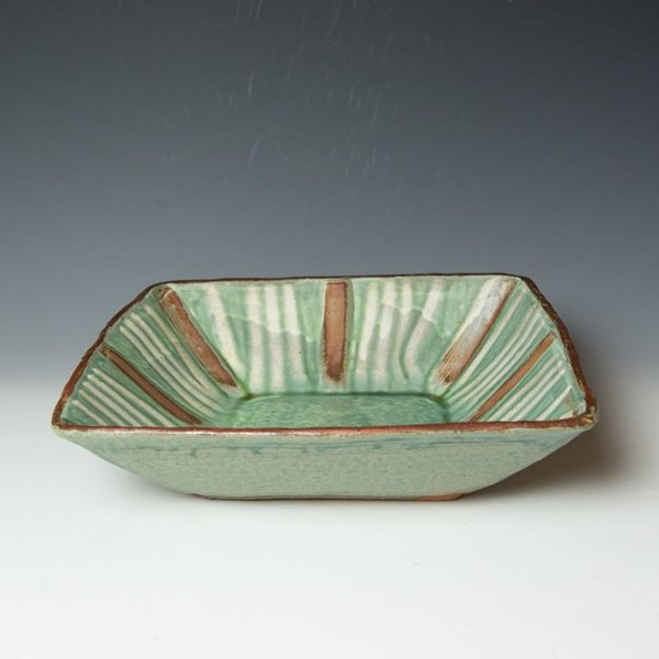 Shawn Ireland Shawn Ireland, Square Bowl, handbuilt, wood-fired, ash glaze, 3.5 x 13.75 x 13.75""