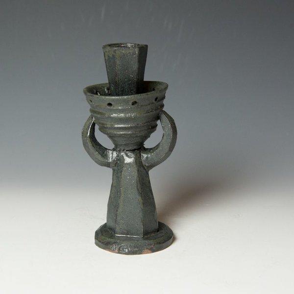 "Shawn Ireland Shawn Ireland, Bull Candle, handbuilt, wood-fired, ash glaze, 8 x 3.75 x 3.5"""
