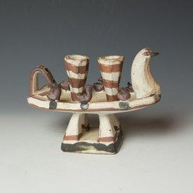 "Shawn Ireland Shawn Ireland, Duck Candle, handbuilt, wood-fired, ash glaze, 6 x 8.25 x 4"""