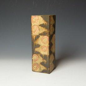 "Shawn Ireland Shawn Ireland, Tall Square Vase, handbuilt, wood-fired, ash glaze, 9.75 x 3.25 x 3.25"""
