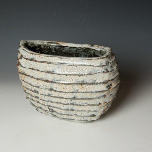 "Catherine White Catherine White, Furrow Vase, wood-fired stoneware, 8 x 10.5 x 5.5"""