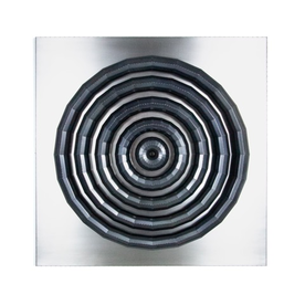 """Thomas Campbell Thomas Campbell, Radiate, stainless steel, blackened steel, 48.25 x 48.25 x 5"""""""