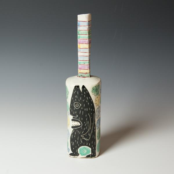 "Kurt Anderson Kurt Anderson, Mallet Vase with Creature, stoneware, 13.5 x 3.25 x 3"""
