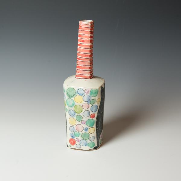 "Kurt Anderson Kurt Anderson, Mallet Vase with Mouse Man, stoneware, 12 x 3.5 x 3.25"""
