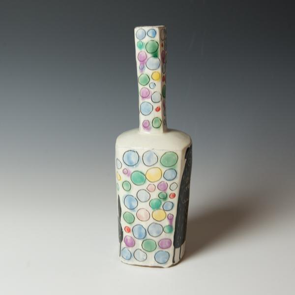 "Kurt Anderson Kurt Anderson, Mallet Vase with Dog, stoneware, 12 x 3.25 x 3"""