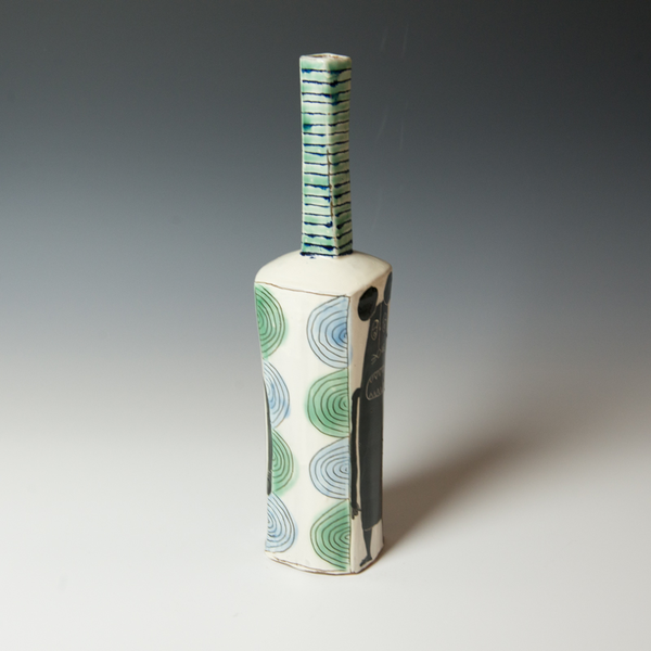 "Kurt Anderson Kurt Anderson, Mallet Vase with Evil Mickey , stoneware, 14 x 3.25 x 3"""