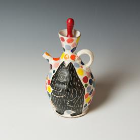 "Kurt Anderson Kurt Anderson, Pouring Pot with Beast, stoneware, 10.25 x 5.25 x 5.25"""