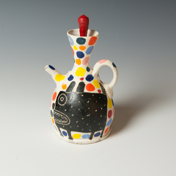Kurt Anderson Kurt Anderson, Pouring Pot with Dog, stoneware, 8.5 x 4.25 x 4.75""