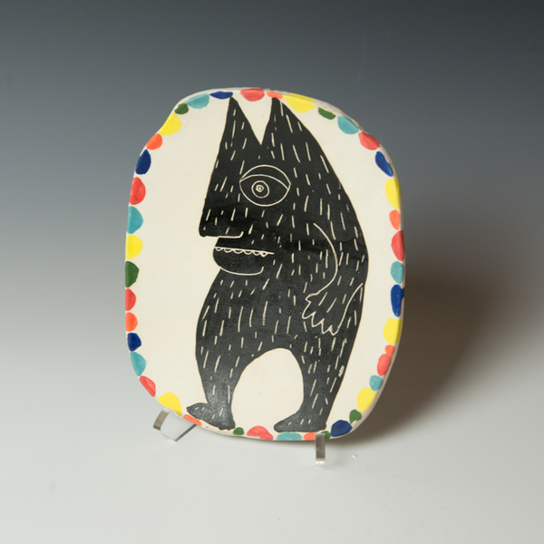 "Kurt Anderson Kurt Anderson, Plate with Beast, stoneware, 1.5 x 7.25 x 8.75"""