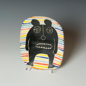 "Kurt Anderson Kurt Anderson, Plate with Bear Man, stoneware, 1.5 x 7.25 x 9"""