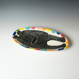 "Kurt Anderson Kurt Anderson, Plate with Bear Man, stoneware, 3 x 10.5 x 20.75"""
