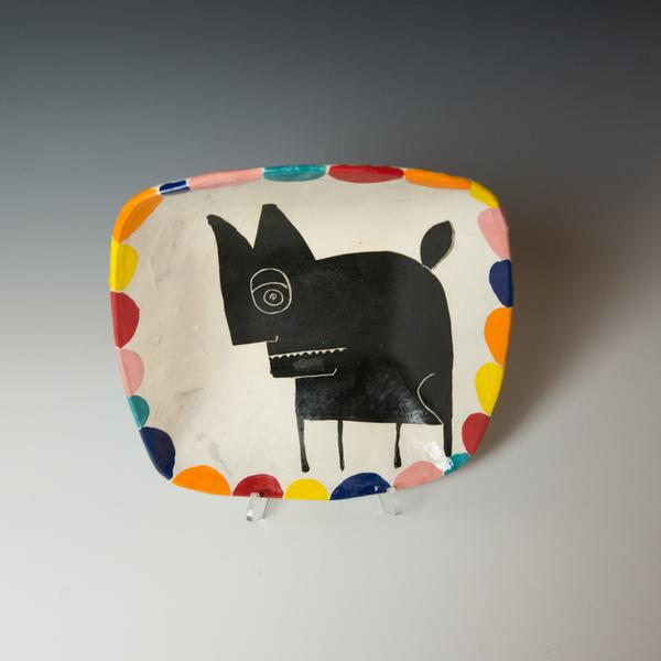 "Kurt Anderson Kurt Anderson, Square Bowl with Dog, stoneware, 3.25 x 11.5 x 11.25"""