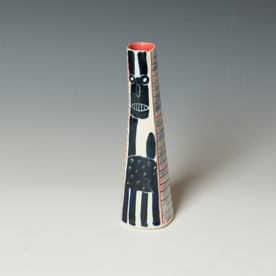 Kurt Anderson Kurt Anderson, Bud Vase with Lincoln and Catman, stoneware, 7.5 x 2.25 x 2.25""