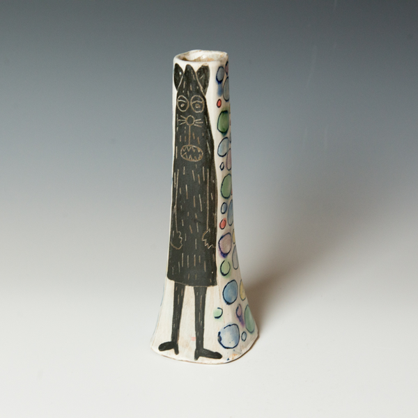 """Kurt Anderson Kurt Anderson, Bud Vase with Critter and Mouseman, stoneware, 9.5 x 3 x 3"""""""