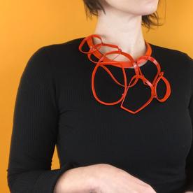 Laura Wood Laura Wood, Open Weave Torque Necklace, brass, sterling, powder coat