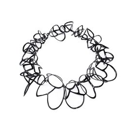 Laura Wood Laura Wood, Signature Lace Collar Necklace, brass, sterling, powder coat