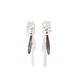 Laura Wood Laura Wood, Lace Stud Fringe Earrings, brass, sterling, powder coat