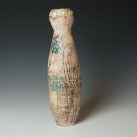 "Maria Dondero Maria Dondero, Coil Jar, earthenware, 16 x 4.5"" dia."