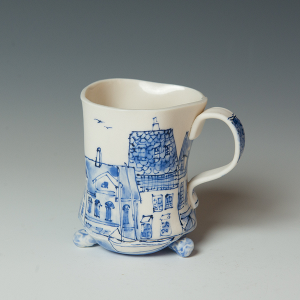 KB Lim KB Lim, Footed Mug, porcelain, 4.25 x 4.5 x 3.5""
