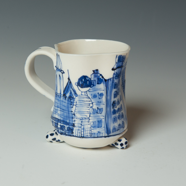 KB Lim KB Lim, Footed Mug, porcelain, 4.25 x 4.5 x 3.25""