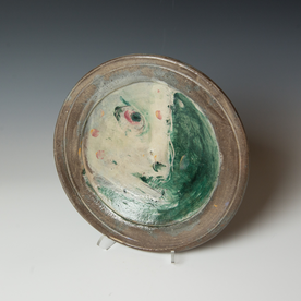 """Ron Meyers Ron Meyers, Shallow Bowl with Fish, 2 x 11"""" dia."""