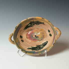 """Ron Meyers Ron Meyers, Small Oval Bowl with Black Fish, 3 x 9 x 6.75"""" dia."""