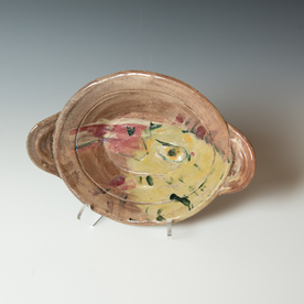 """Ron Meyers Ron Meyers, Small Oval Bowl with Rooster, 3 x 11.5 x 8"""" dia."""